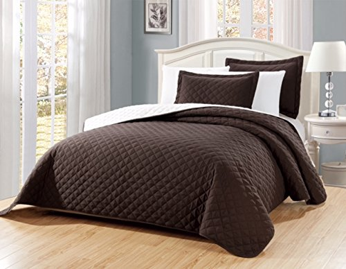 Fancy Linen 3pc Solid Diamond Quilted Bedspread # Ontario Over Size (Brown/Coffee, King/California King)