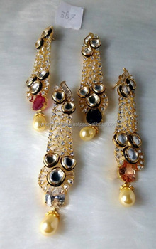 Bollywood Style Indian Fancy Earring In Multiple Color Options Designer American Diamond