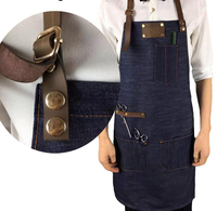 2019 Coffee shop apron leather denim apron men and women customized leather strap apron