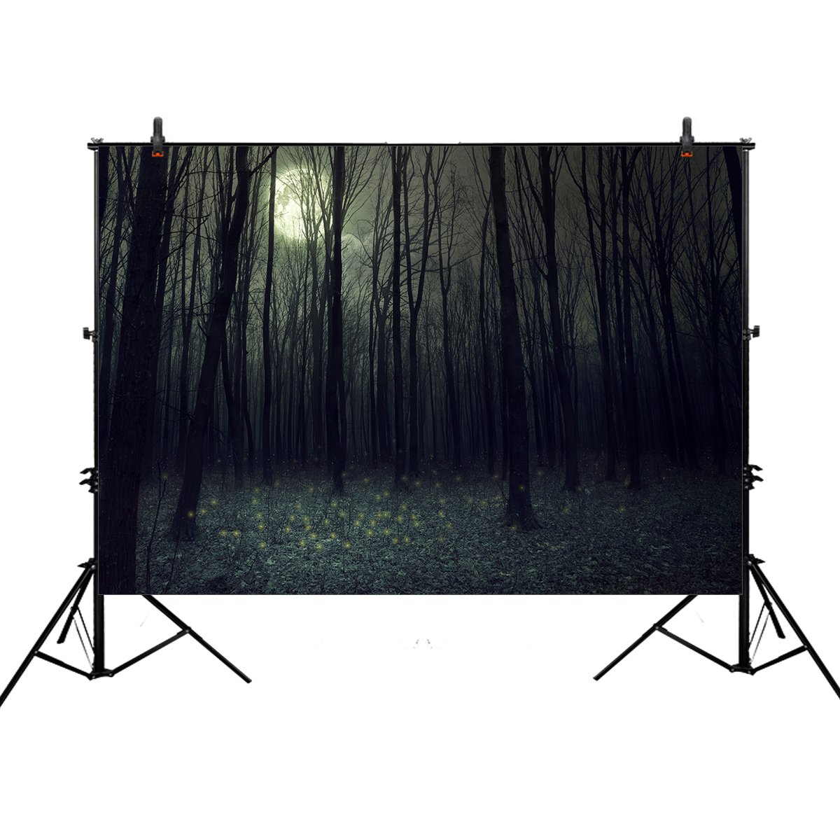 Allenjoy 7x5ft photography backdrop background darkness autumn forest halloween woods night trees Dark forest landscape props photo Woodland studio booth