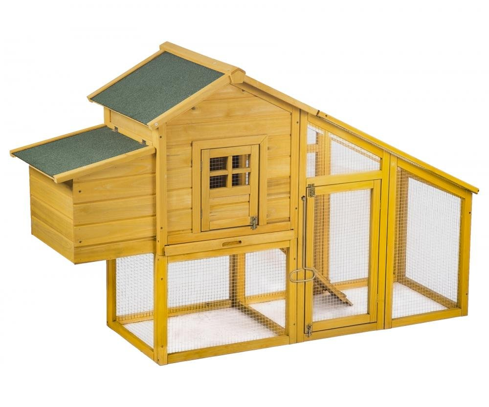 PayLessHere Chicken Coop Wooden Chicken Coop House Poultry Pet Cage Backyard Nest Box w/Run Yard
