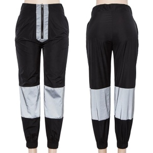 Women Casual Shining Reflective Loose Jogger Pants/Ladies High Visibility 3M Reflective Joggers Pants