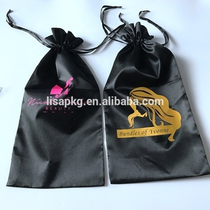 Cheap custom top selling hair extension packaging satin bag for wigs