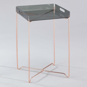 Modern Colored Acrylic Folding Steel Frame Copper Tray Table