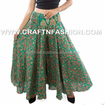 f77bf567fc Indian Fusion Silk Umbrella Skirt Trouser Pants - Belly Harem Palazzo pants