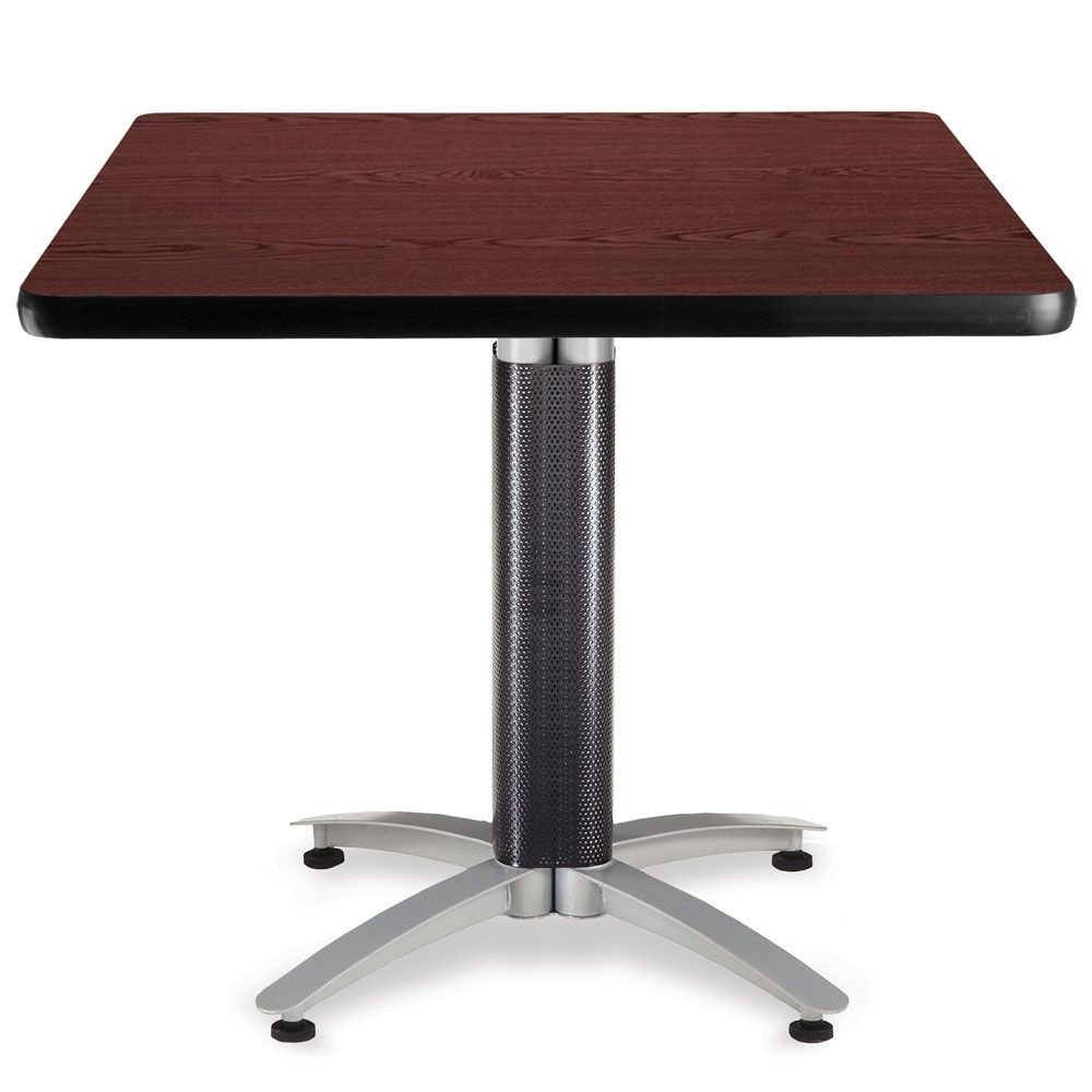 """Multi-Purpose 36"""" Square Table Mahogany Top/Black Mesh and Silver Base Dimensions: 36""""W x 36""""D x 29.5""""H Weight: 57 lbs."""