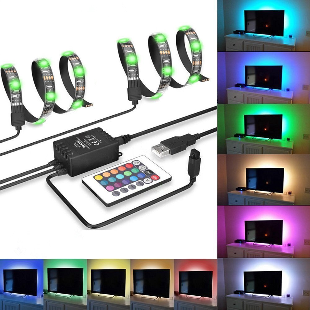 LEDNICEKER RGB 5050 LED TV Backlight Bias Lighting Kit - 2Pcs Flexible Multi-Color Changing USB Powered Led Strips With 24 Key Remote Controller for HDTV Monitor Computer PC Home Decoration DIY etc.