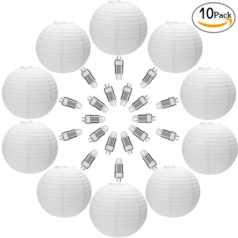 Permanent 24PCS White LED Balloon Lights Lantern Waterproof for Wedding Decor