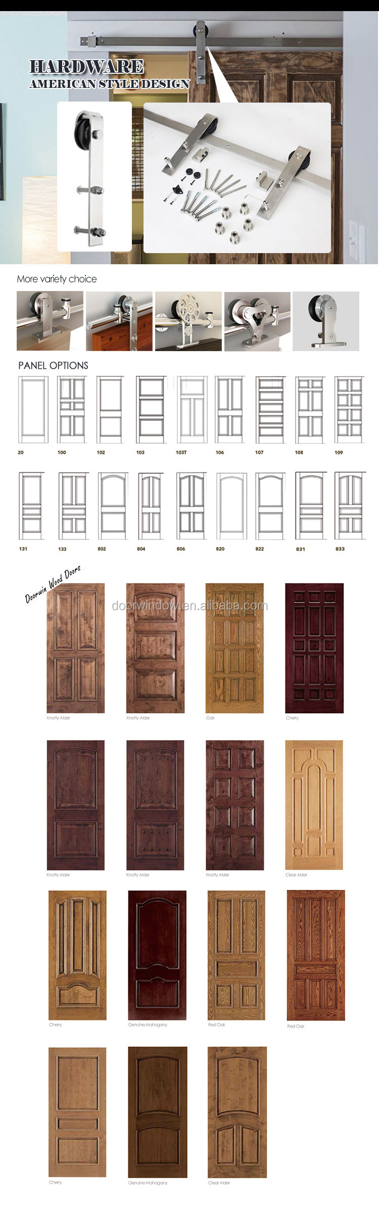 Fancy interior doors red oak wooden barn sliding door with stainless steel hardware