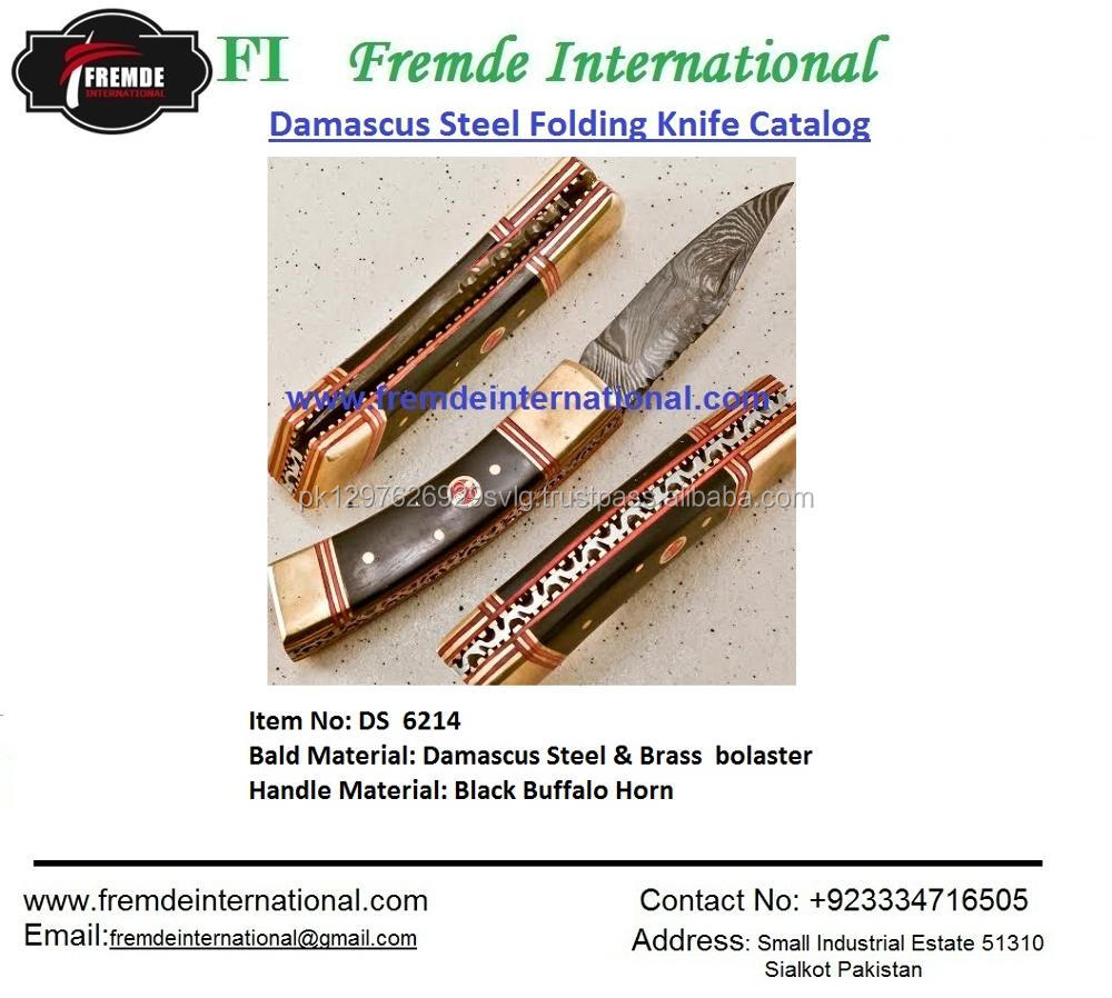 Damascus Steel Folding Knife & Damascus engraved bolster High Quality Hand Made