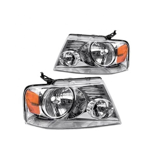 Accessory for Ford F150 Pickup 04-08 Head Light Chrome Housing Amber Reflector Clear Len 7L3Z 13008 GA/7L3Z 13008 FA