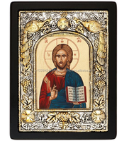 """ Jesus Christ "" - Christian Greek Orthodox Silk Screen Religious Wooden Craft Icon covered with Silver 950"