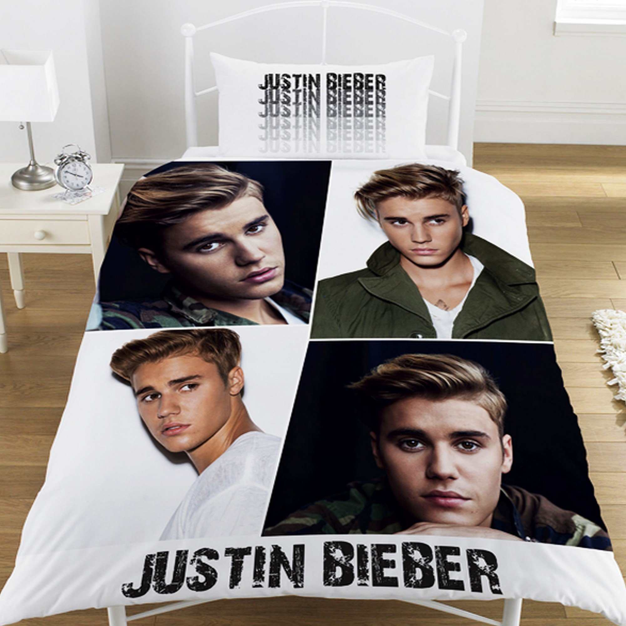 0eeee26f3 Get Quotations · Justin Bieber Childrens Girls Official Montage Comforter  Cover Bedding Set (One Size) (Multicolor