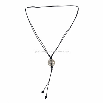 925 Sterling Silver Diamond Designer Onyx Princess Necklace