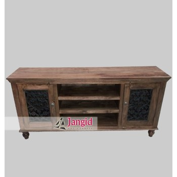 Sheesham Wooden Ethnic Dubai Country Style Tv Cabinets With Iron Grills On Door