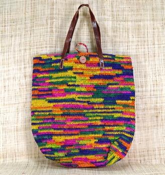 sac raphia madagascar crochet coloré ethnique coloré original