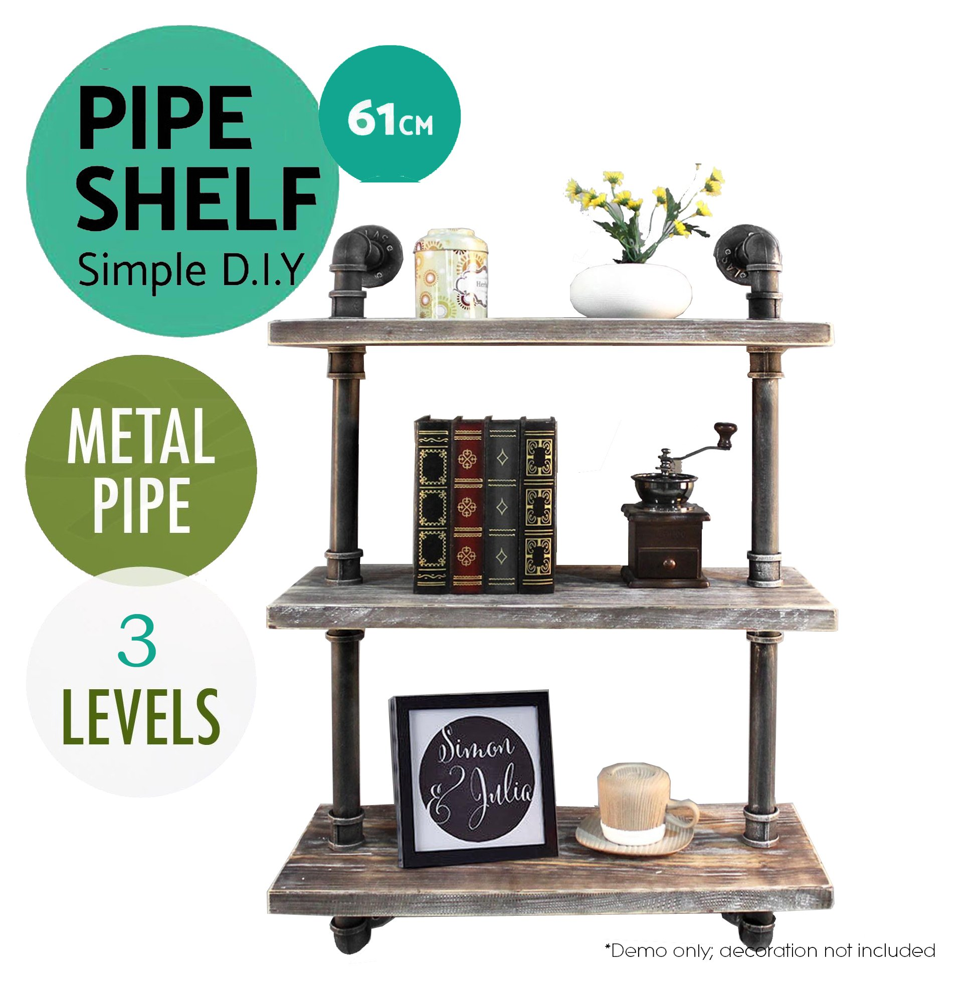 3e98f2fc045 Diwhy Industrial Rustic Modern Wood Ladder Pipe Wall Shelf 6 Layer Pipe  Design Bookshelf DIY Shelving