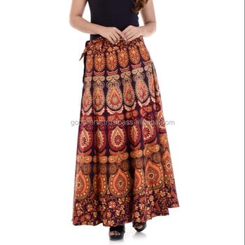 0d4ab9161 2018 Indian Traditional Multi Colour Printed Women Cotton Hippie Mandala  Rapron Skirts Mandala Clothing Beach Dress
