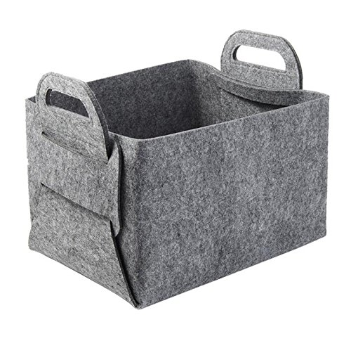 "One Piece Foldable Felt Handle Storage Basket, Organizer, Storage Bin Nursery Basket for Home Office, Size 14"" and Size 9"" (Light Gray-L)"