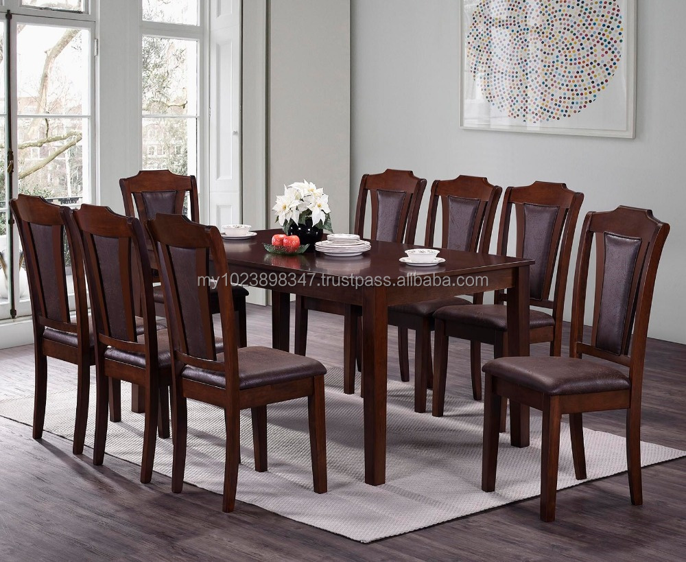 Wood Dining Table With 8 Chairs Seater Cushion Seat Rectangular Malaysia Set Product On