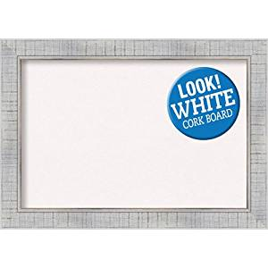 Amanti Art Framed Cork Board Sonoma White Wash: Outer Size 21 x 15, Small