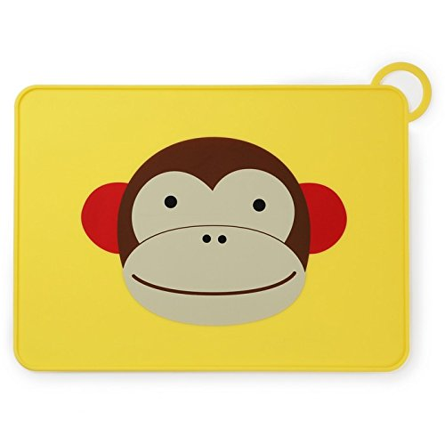 Skip Hop Baby Zoo Little Kid and Toddler Fold and Go Non-Slip, Food-Grade Silicone Placemat, Multi, Marshall Monkey