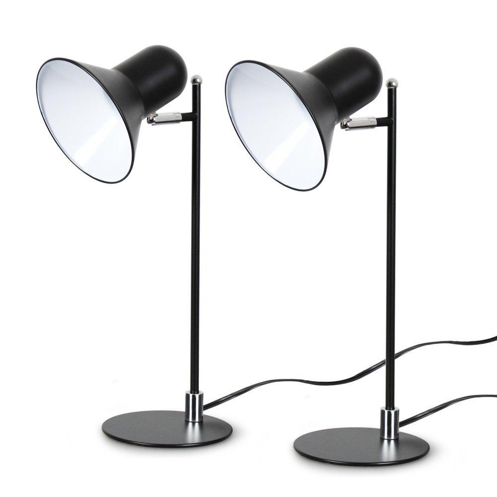 Modern Desk Lamp, T-SUN Office Light Eye Caring Table Lamp for Reading, studying, Office, Bed Room, Living Room(Black-2 Pack)