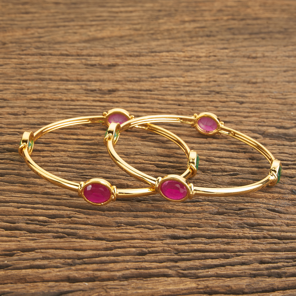 2 pc Cz Classic Bangles with Gold Plating 59789 Rubygreen