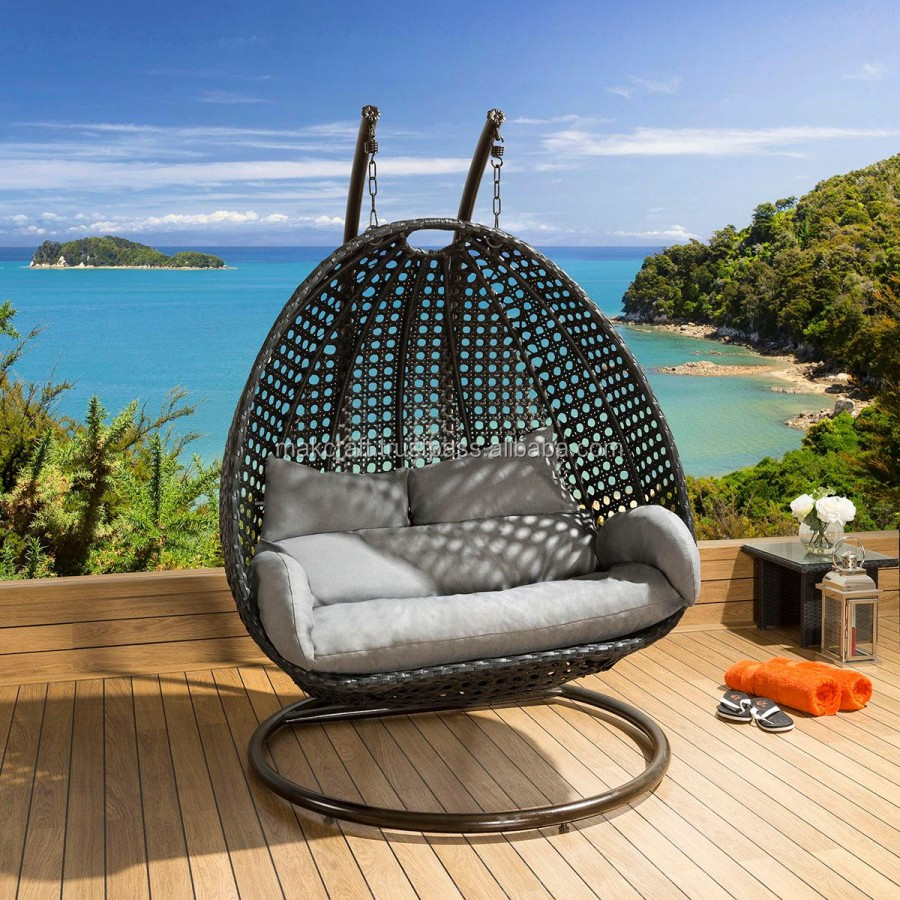 Wicker Rattan Double Swing Hanging Chair Power Coated High Quality