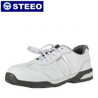 White leather breathable sports safety shoes with steel toe cap