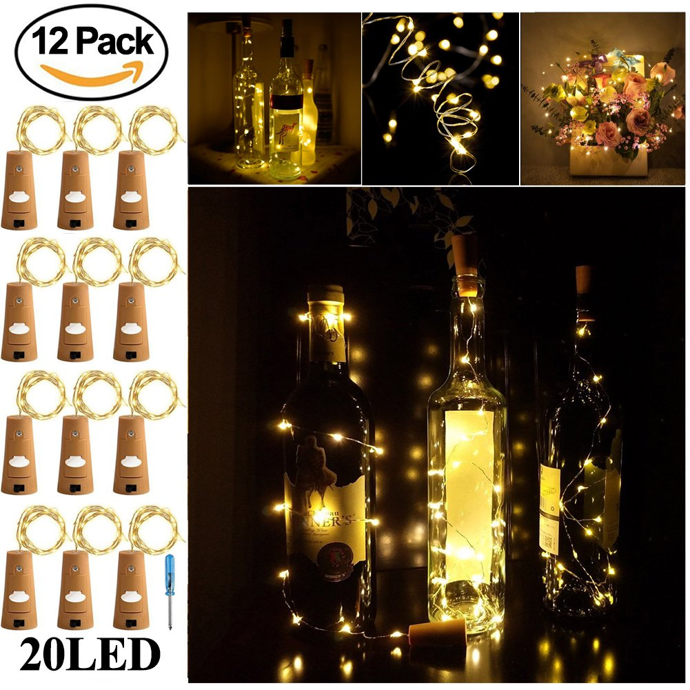 get quotations wine bottle lights with cork surlight cork lights for bottle 12 pack 65ft 20