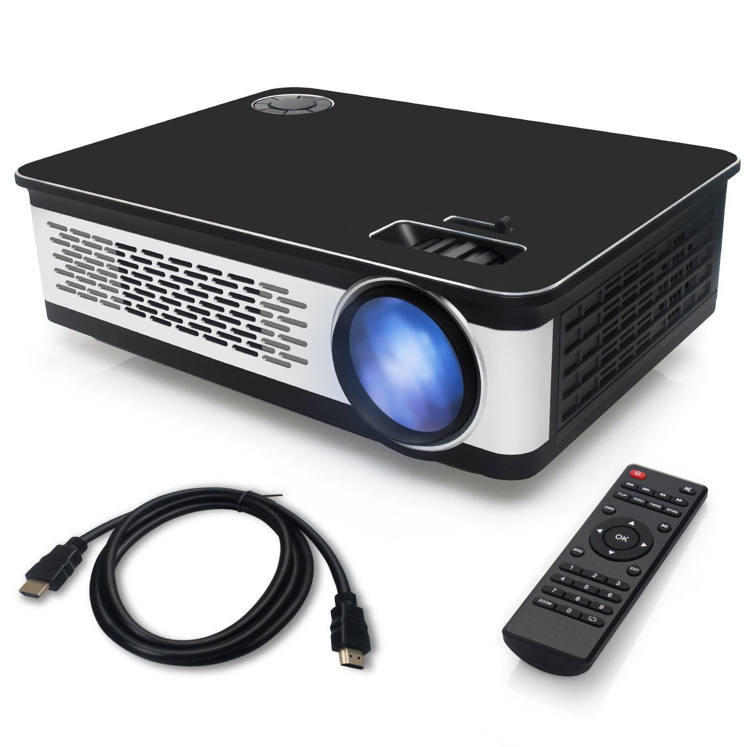 Get Quotations · Portable Projector, Video LED HD Projector 3200 Luminous  Efficiency with HDMI Support 1080P, Home
