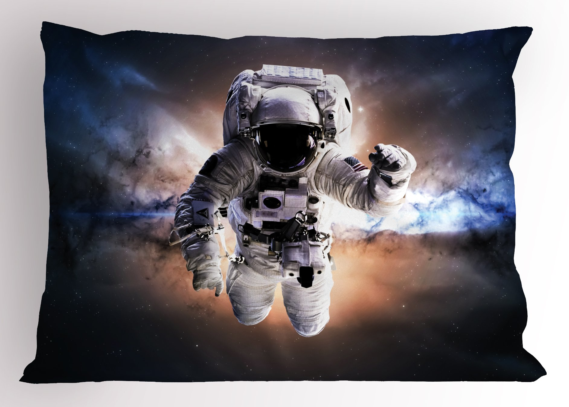 Ambesonne Astronaut Pillow Sham, Floating Astronaut in Space Nebula Heavenly Bodies Star Systems Love Science, Decorative Standard Queen Size Printed Pillowcase, 30 X 20 Inches, Multicolor