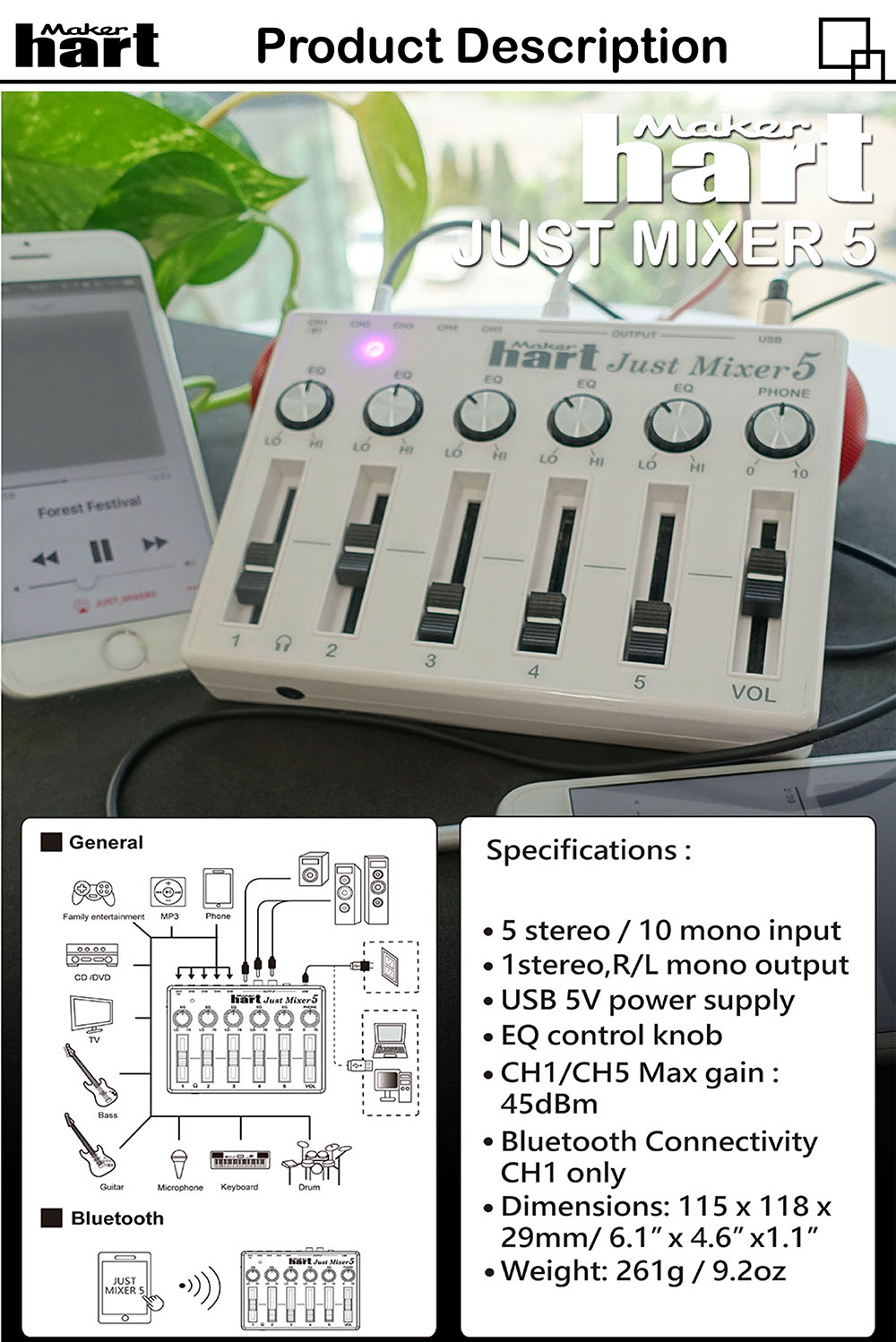 Just Mixe5 220-240V RCA USB Bluetooth Audio Mixer