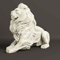 High quality Antique Marble Lion Statue For Sale Garden Life Size Stone Lion Statue DSF-T94