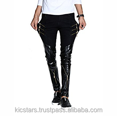Men's Rock Punk Patchwork PU Leather Hip Hop Skinny Motorcycle Pants With Zippers