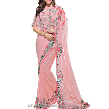 New Cap Pattern Baby Pink Color Soft Silk & Georgette Saree