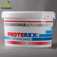 Printing plastic 7.5L oval paint bucket with handle and lids wholesale