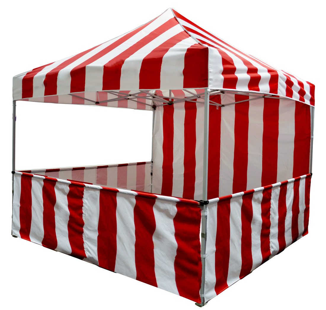 Impact Canopy 10 X 10 Pop Up Canopy Tent, Carnival Tent Kit, Powder Coated Steel Frame, Sidewall & Half Walls, Red/White Stripe