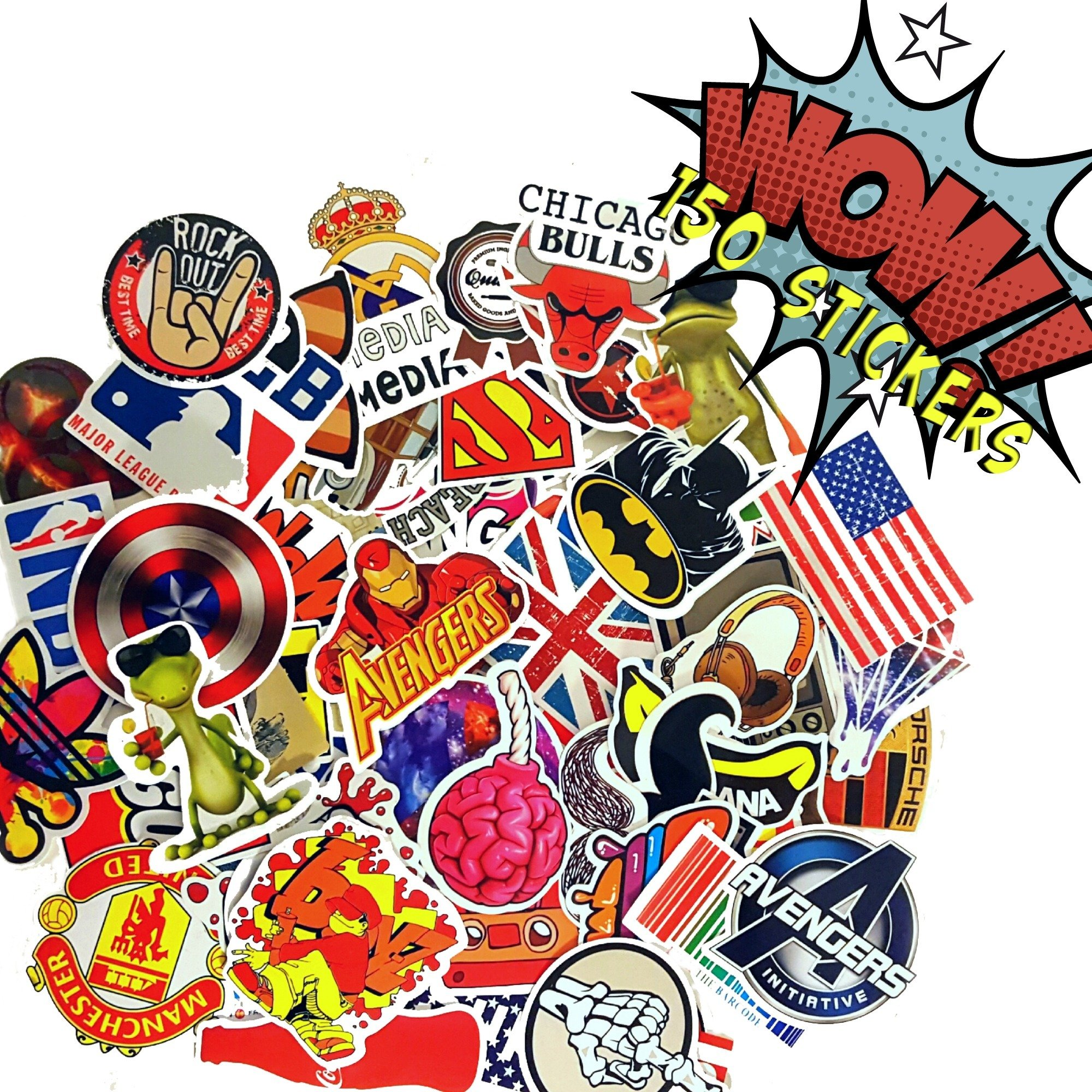 Premium Pack & Only Bag of 100+50 Bonus Pokemon & Vinyl Graffiti Decal Logo Stickers-Personalize laptops, Skateboard, Snowboard, Car,Helmet,Luggage,Bikes.Great Halloween stickers treat!!