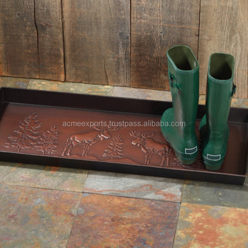 Metal Moose Design House Hold 4 pairs Boots Holder Trays With Best twin Copper Antique Finish Rectangular Tray