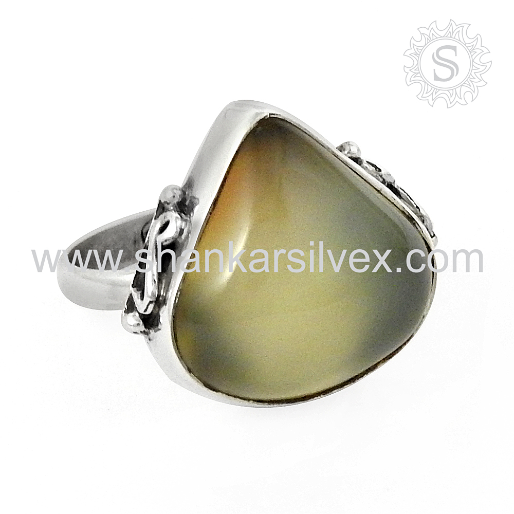 Indian handmade chalcedony silver ring 925 sterling gemstone silver ring wholesale jewellery