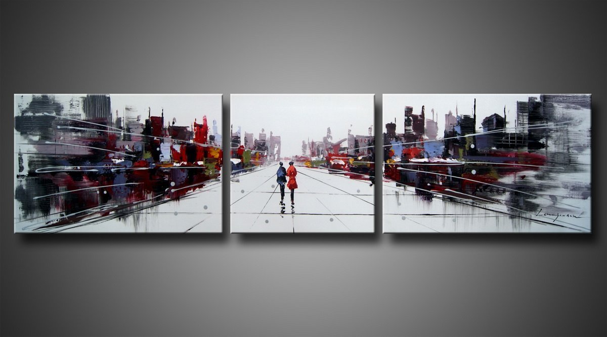 Ode-Rin Art Christmas Gift Hand Painted Mordern Oil Paintings Two People World Of Shadow Cities Splice 3-piece Wall Decoration (20x30Inchx2pcs,20x20Inchx1pcs)