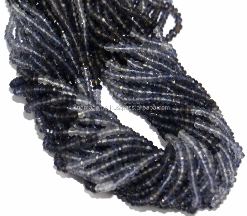 Iolite Beads, Shaded Iolite Gemstone 3-5 mm Rondelle Micro Faceted Loose Beads, Natural Gemstone Beads
