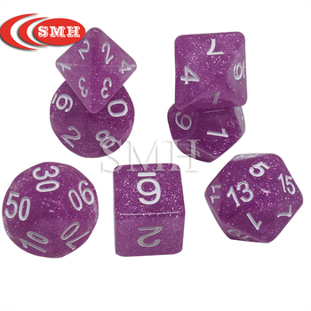 Bling Bling Mysterious Royal Glitter Creative Universe Galaxy Dice Set of D4-D20 Dice for DND RPG