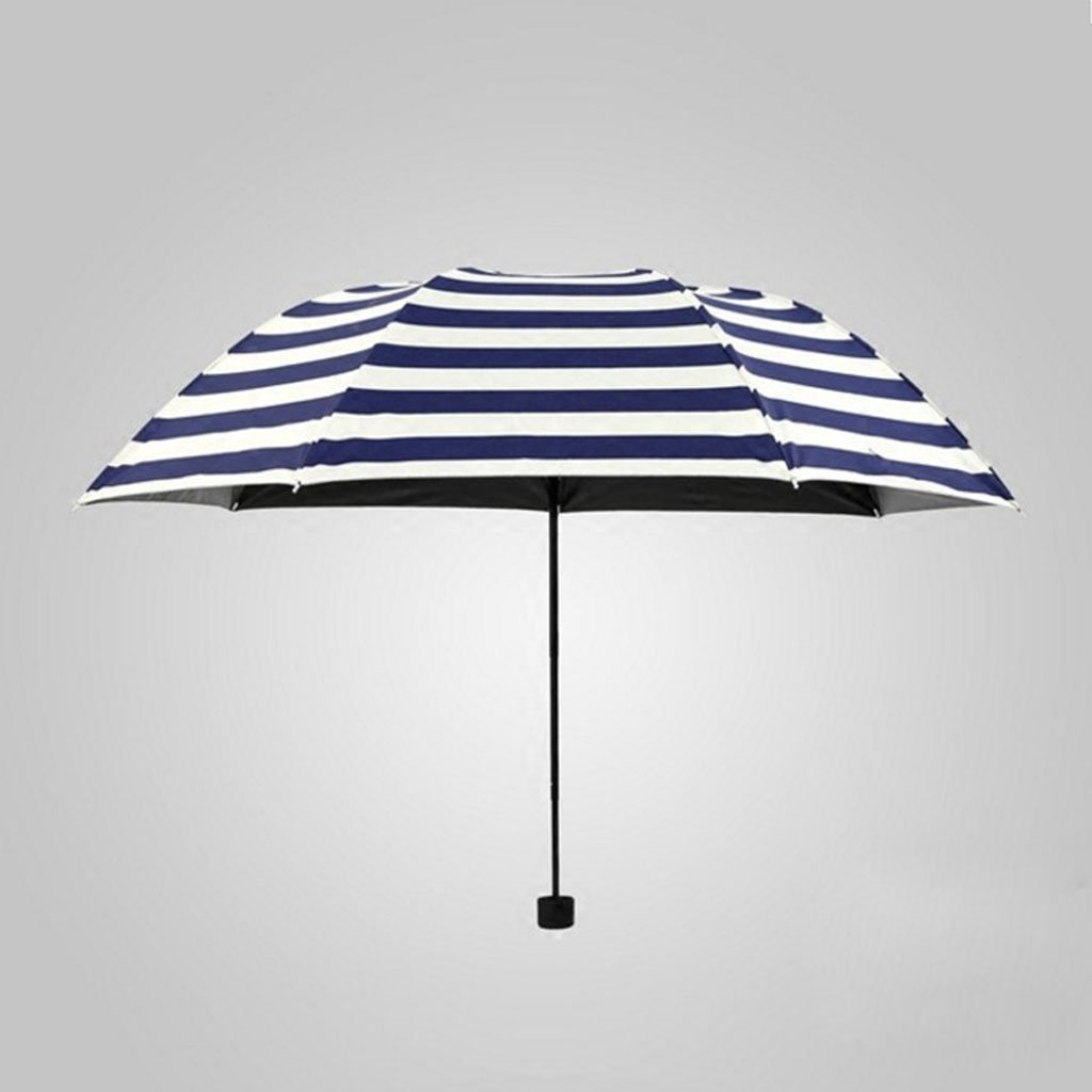 Edge to Rain And Blue Umbrella Creative Navy Blue Striped Folding Umbrella Black Rubber Male Umbrella Umbrella Umbrella