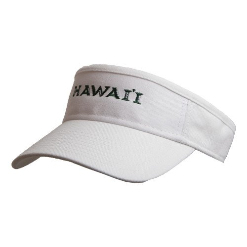 2db64343 Get Quotations · Hawaii White Brushed Bull Denim Visor 'Official Logo'