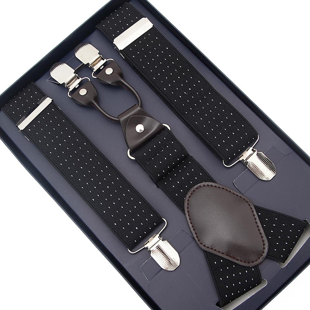 Mens 35mm Wide Adjustable Braces Suspenders Elastic in Off White Black or Red