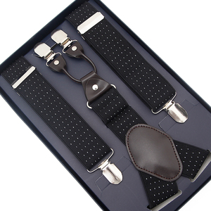 Mens Black Suspenders Wide Adjustable Elastic Leather Braces Y Shape With Strong Clips