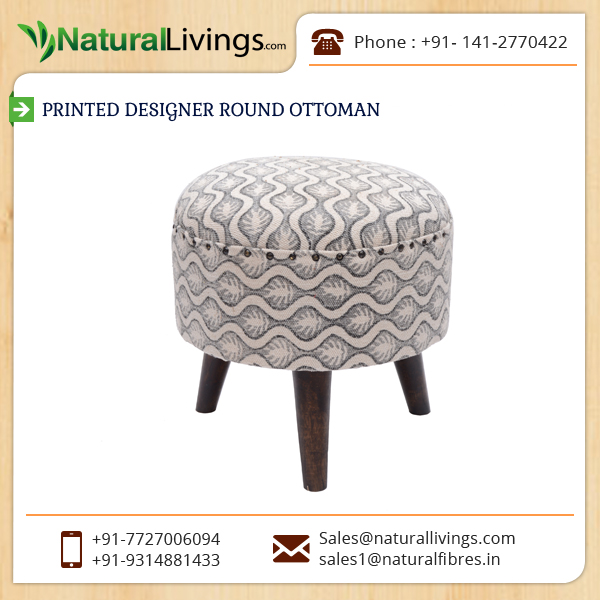Superior Quality Printed Designer Round Ottoman for Comfortable Seating
